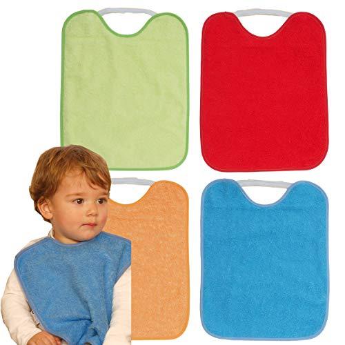 TI TIN Pack 4 Baberos Impermeables para Bebé con Cierre con Goma 90% Algodón - 10% Poliéster con Forro de Vinilo | Para Bebés de Más de 1 Año, 32x36cm