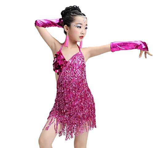 ZYLL Pailletten Fransenkleid Tanz Gold Latin Wettbewerb Kostüme für Mädchen Salsa Kleider mit Quasten Samba Kleidung Kinder Ballsaal,Pink,120CM