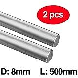Guía de eje de varilla de movimiento lineal de acero endurecido de 8 mm, 500mm, 2