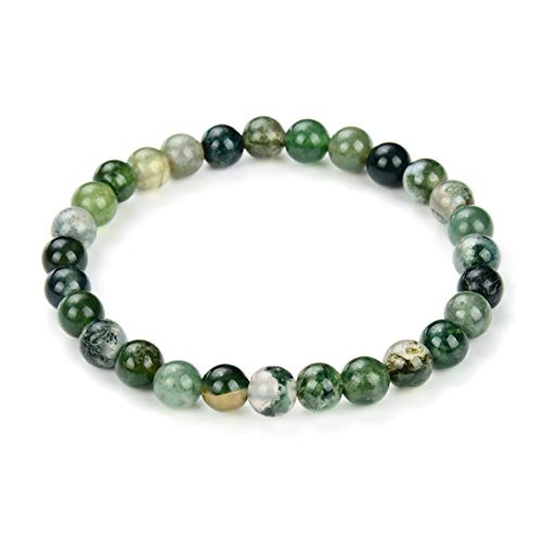 Natural Moss Agate Gemstone Bracelet 7.5 Inch Stretchy Chakra Gems Stones Healing Crystal Birthday Gifts GB6-B25