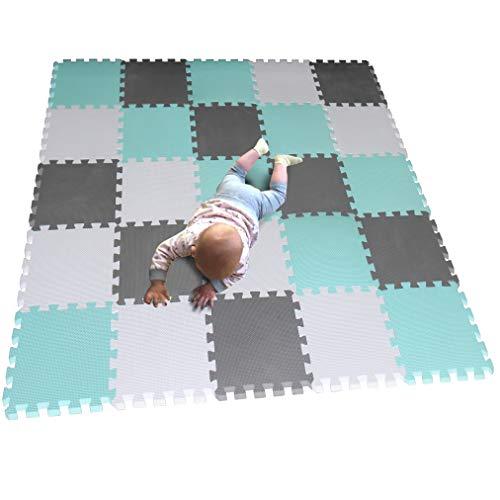 MQIAOHAM Actividades Alfombrillas Bebes colchoneta Foam Goma Infantil Juegos niños para Piezas Suelo Blanco-Verde-Gris CDW101108112G301025