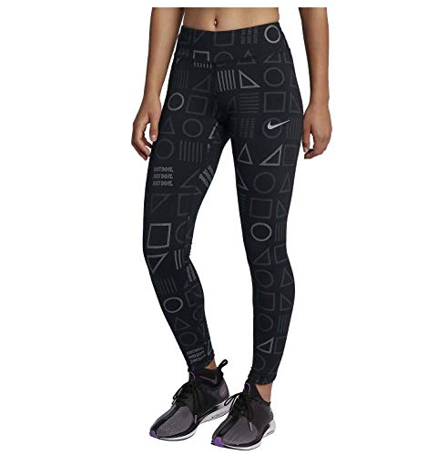 Nike Womens Lux Flash Reflective Printed Running Tights Black AH6849-010