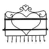 zvcv Organizador de Joyas Pendiente Colgante Collar Soporte de exhibición de Joyas Estante de Montaje en Pared Organizador de Joyas en Forma de corazón (Color: Bronce, Tamaño: 34x31.5cm)