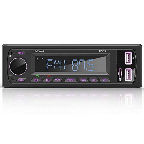 ieGeek Autoradio Bluetooth Estéreo RDS 60W * 4 Sistema de Radio Llamada Manos Libres FM/Am, luz de botón de 7 Colores, Pantalla de Reloj, Soporte Dual USB/FM/BT/AUX/SD con Control Remoto