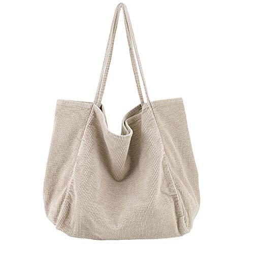 Funtlend Umhängetasche Damen Groß Handtasche Schultertasche Cord Tasche Damen Crossbody Tasche Einkaufstasche Damen Shopper-40*40*23cm (Beige)