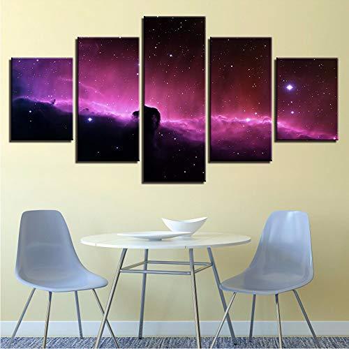 Pmhhc Impresión En Hd Imágenes Abstractas Decoración Sala De Estar 5 Piezas Cielo Estrellado Planetas Paisaje Lienzo Cuadros Modulares Pósteres Arte De La Pared-20X35Cmx2 20X45Cmx2 20X55Cm