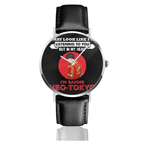 Unisex Business Casual Akira in My Head Im Saving Neo Tokio Uhren Quarzuhr Lederarmband schwarz für Männer und Frauen Young Collection Geschenk