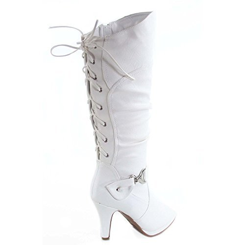 TOP Moda Womens Page-65 Knee High Round Toe Lace-Up Slouched High Heel Boots,White,5.5