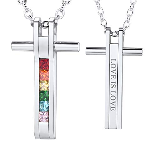 PROSTEEL Stainless Steel Rainbow Crystal Necklace LGBT Gay Pride Jewelry Cubic Zircon Cross Pendant Gift Men Women Personalized Custom Lesbian Necklace
