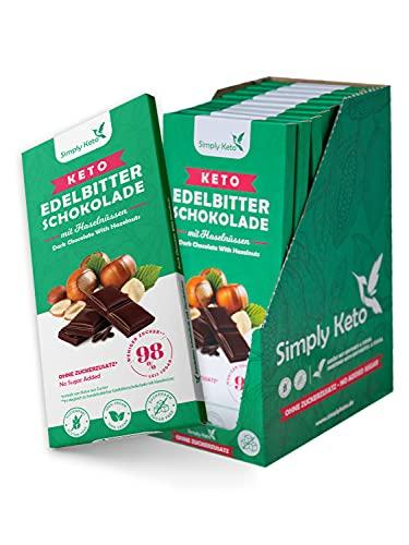 Simply Keto Low Carb Schokolade mit Haselnüssen & 60{13ae1e084deae1102e6fe605d71420eb92b6a07aac605cf67375b3b6f877d094} Kakao - Edelbitter Schokolade ohne Zucker - Gesüßt mit Erythrit-Stevia statt Zucker - Nur 4g Netto-Kohlenhydrate pro 100g - Glutenfrei & Vegan