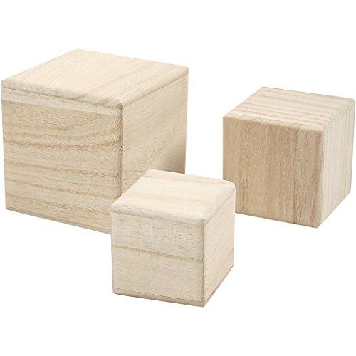 Cubos de madera, medidas 5+6+8 cm, árbol del té, 3ud