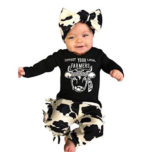 Obestseller Babybekleidung Baby Langarm Top T-Shirt + Hose mit geometrischem Print + 3-teiliges Set mit Haarband Neugeborenen Kleinkind Baby Mädchen Brief drucken Tops (Schwarz-A, 100)