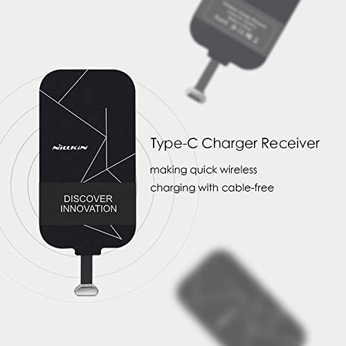 Nillkin Qi Empfänger USB C, dünn Wireless Charging Qi Receiver, Type C Induktions Ladegerät Empfänger für Galaxy A41, A50, A51, A71, Moto g8, Huawei P30 lite und Andere Type-C Android-Handy