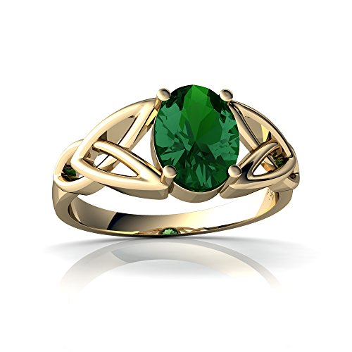 14kt Yellow Gold Lab Emerald 8x6mm Oval Celtic Trinity Knot Ring - Size 7.5