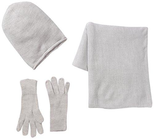 PIECES Damen PS Kalia Mütze, Schal & Handschuh-Set, Grau (Light Grey Melange) (cm), (Herstellergröße: One Size)