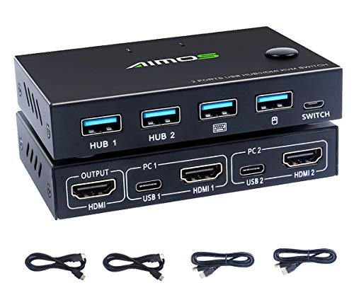 KVM Switch HDMI 2 Port, AIMAISHI USB Switcher Box, UHD 4K@30Hz, 4 USB 2.0 Hubs, Support Wireless Keyboard and Mouse, Compatible Laptop/PC/PS4/Xbox/HDTV, with HDMI and USB Cables