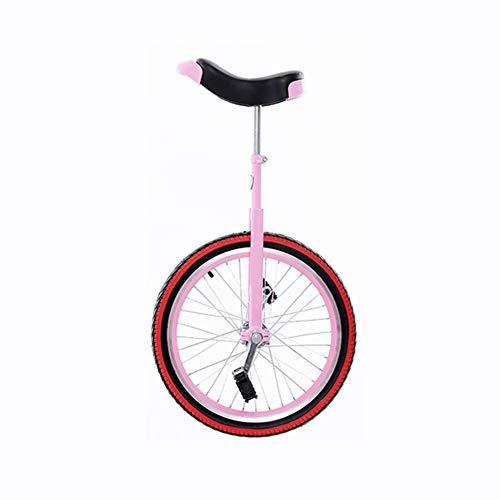 JUIANG Sicher und stabil Erwachsenentrainer Einrad, Mit verstellbarem Sitz und raffiniertem dickem Aluminiumrand, rutschfest und fallend Einrad, Geeignet für Kinder/Erwachsene Einräder 20 inch pink