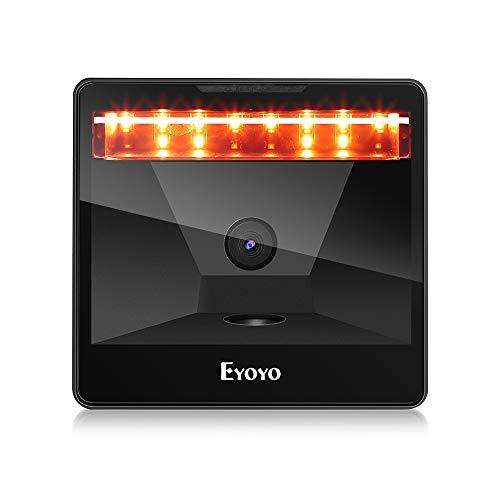 Eyoyo Escáner de códigos de barras de escritorio grande 2D, manos libres, USB con cable lector de códigos de barras PDF417 en tarjeta de identificación, licencia de conducir
