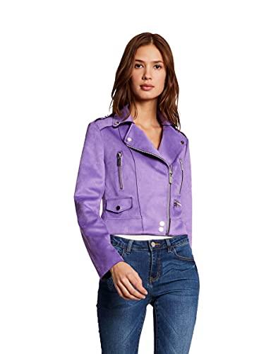 Morgan Perfecto Cuir GRAMIR Faux Leather Jacket, Lilas, T42 Womens