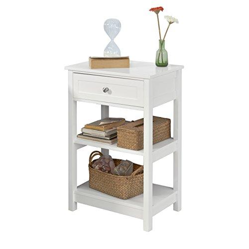 SoBuy FBT46-W,ES Mesa Auxiliar con 1 cajón, Consola,mesita de Noche para salón Comedor, teléfono o lampara (Blanco) (1) ✅