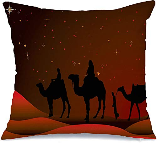 Throw Pillow Covers Case Traditional Noel Christmas History Sand Holiday Israel Scene Wiseman People Starry Sky Holidays Square Decorative Cushion Covers for Sofa Bed Home Decoration 16x16 Inch