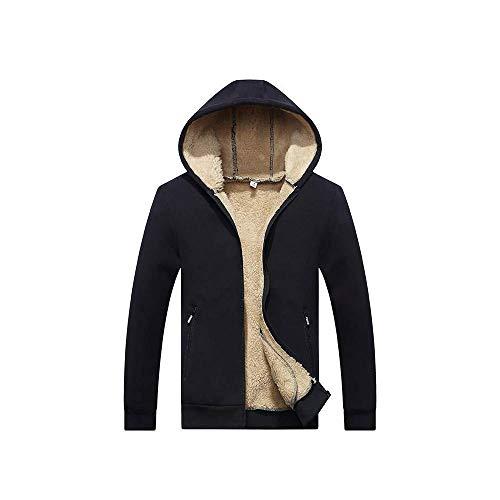HYLLGI Einfache Herbst Und Winter Herren Plus Samt Dicken Hoodie Lammfell Mantel Große Lässige Strickjacke Sweater Mantel Sweatshirt