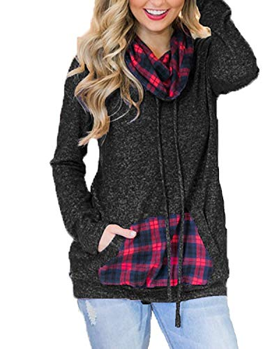 Aburnudrey Dames Cowl Neck Tops Lange Mouw Tuniek Trekkoord Blouse Pullover Sweatshirt met Kangoeroe Pockets