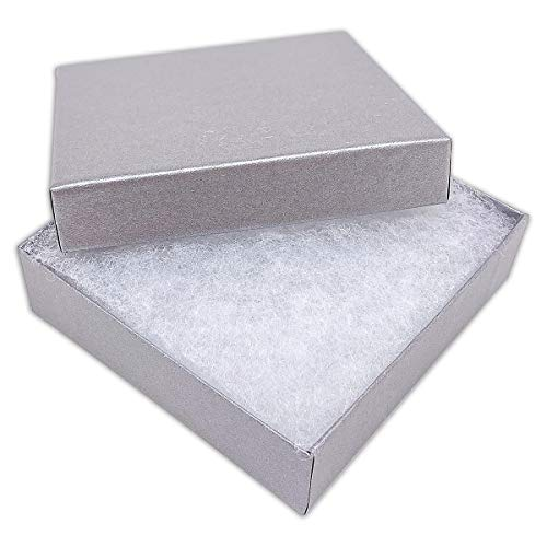 TheDisplayGuys 100-Pack #33 Cotton Filled Cardboard Paper Jewelry Box Gift Case - Pearl Gray (3 1/2' x 3 1/2' x 1')