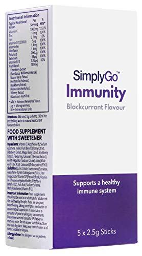 SimplyGo Immunity | Blackcurrant Flavour Immune System Supplement with Vitamins | 10 Sachets | UK Made
