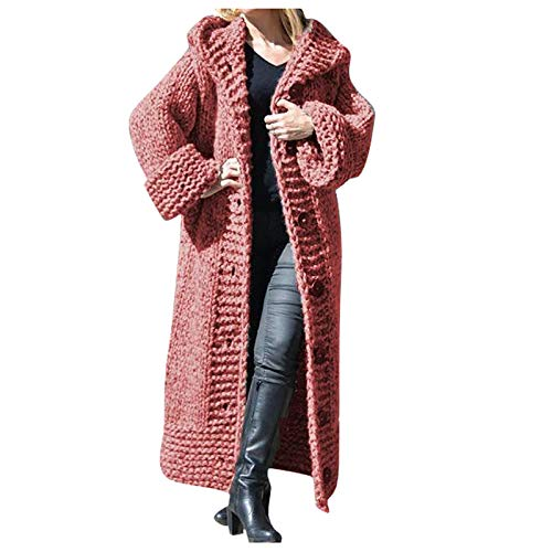 Women Long Sweater Cardigan Coat Casual Solid Knit Button Long Sleeve Overcoat Outerwear URIBAKE