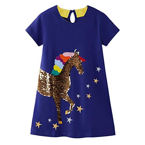 VIKITA Vestito Manica Lunga Striscia T-Shirt Cotone Bambine e Ragazze JM6400 8T