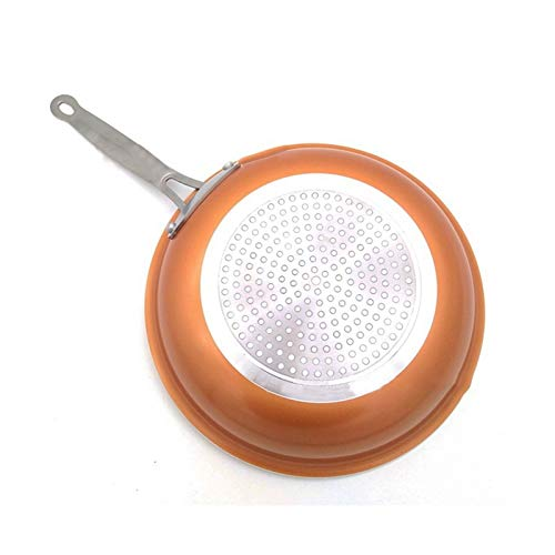 Sartén de fritura de cobre antiadherente con recubrimiento cerámico e cocina de inducción (Color : Orange)