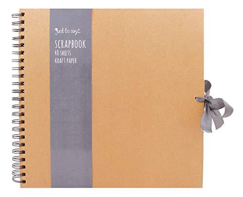 Tallon Kraftpapier Scrapbook mit Schleife, klein, mittel, groß, quadratisch, Braun, Large 30cm x 30 cm - 40 Sheets