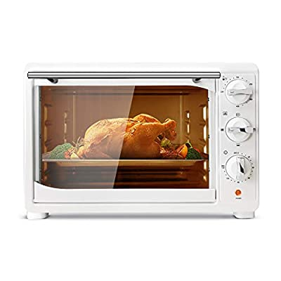 KING.Chef Toaster Oven, Toaster Ovens Countertop 6 Slice with 120-Min Timer Convection Toaster Oven - 1400 Watts of Power, Stainless Steel, Includes Baking Pan and Broil Rack, White