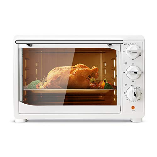 KING.Chef Toaster Ovens Countertop Multi-function Stainless Steel Toaster Oven with 120-Min Timer Convection Toaster Oven 1400W, Includes Baking Pan and Broil Rack, White
