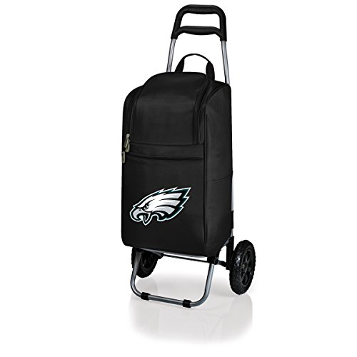 NFL Philadelphia Eagles Insulated Cart Cooler with Wheeled Trolley, Black