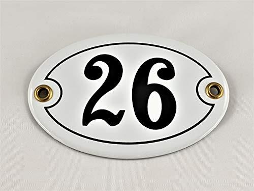 Emaille Hausnummer Schild Nr. 26, oval, Weiß-Schwarz mit Schrauben und Dübel