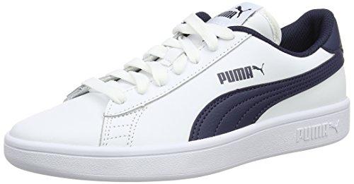 Puma Smash V2 L Jr, Scarpe da Ginnastica Basse Unisex – Bambini, Bianco White-Strong Blue-Peacoat-Gray Violet 07, 36 EU