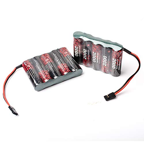 Enrich Power FCONEGY 2PCS Akku Pack Empfänger 6V 2000mAh NiMH RX Batterie Receiver Plat Pack mit Futaba/BBL2 Stecker Fernbedienung für RC Car Quadcopter Drone FPV UAV
