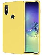 CRABOT Compatible con Xiaomi Mi A2 Lite/Redmi 6 Pro Silicona Líquida Caso Cubierta de Goma Anti-caída Resistente a Los Arañazos Carcasa del Teléfono+1*(Protector de Pantalla Gratuito)-Amarillo
