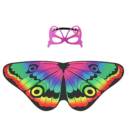 Hifot ali farfalla bambina, carnevale farfalla fata ali, scialle mantelli farfalla con maschera in feltro