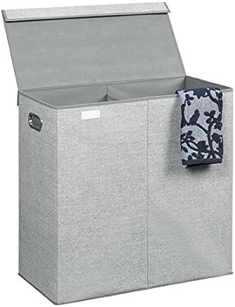 mDesign Portabiancheria – Cesto portabiancheria per camere da letto o bagno con comode maniglie – Cesto biancheria pieghevole con due scomparti e design a spina di pesce – grigio