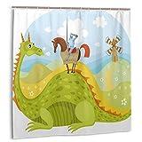 KOSALAER Duschvorhang,Ritter Don Quijote mit Pferd auf Dragon Valley Mittelalterliches Märchenbild,Vorhang Waschbar Langhaltig Hochwertig Bad Vorhang Wasserdichtes Design,mit Haken 180x180cm