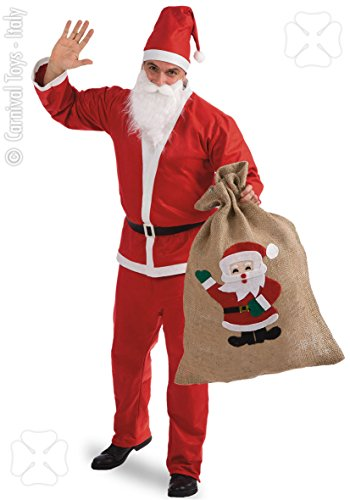 Costume di Babbo Natale c/Sacco, Taglia Unica