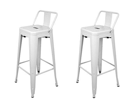 La Silla Española - Pack 2 Taburetes estilo Tolix con respaldo. Color Blanco. Medidas 95x44,5x44,5