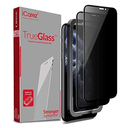iCarez [Full Coverage Tempered Glass + Tray Installation] Privacy Screen Protector for Apple 2019 iPhone 11 Pro Max / iPhone xs max 6.5-Inch (Case Friendly) Anti-Spy Easy Install [ 2-Pack 0.33MM 9H 2.5D]