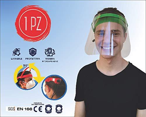 Cosmo Innovation Visiera paraschizzi dpi, protettiva, sollevabile, trasparente, protezione totale con mascherina, verde
