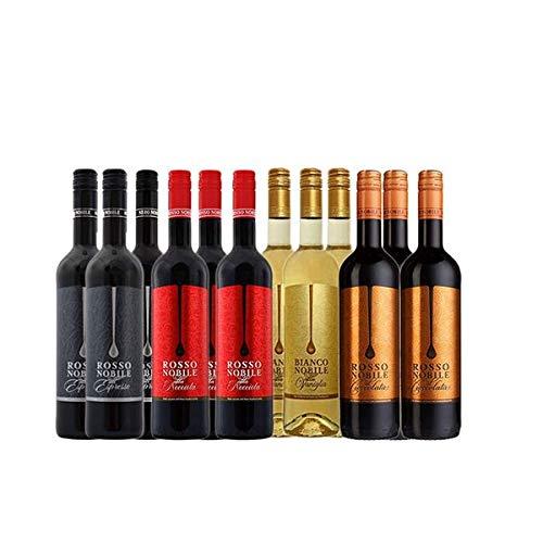 Nero, Rosso Cioccolata, Rosso Nocciola und Bianco Nobile (12x0,75)