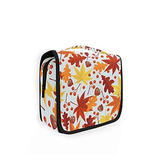 Bolsa de aseo colgante para mujer, diseño de hojas de arce otoñal, con estampado de nueces, bolsa de lavado grande, organizador de cosméticos para mujeres, niñas y niños bolsa de ducha