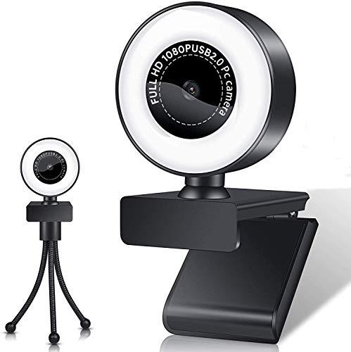 Webcam con Micrófono y Anillo de Luz, Streaming HD Camara Web con Cover y Tripode para PC/Mac/Ordenador Portatil/Sobremesa, USB PC Cámara para Youtube, Skype, Zoom, Xbox One, PS4 y Videoconferencia